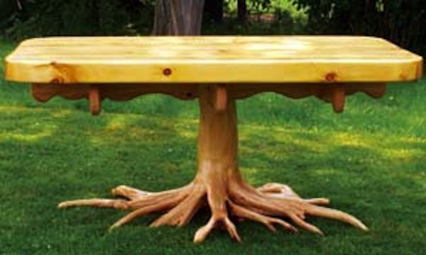 You can use water worn or storm damaged trees to create unique and beautiful handmade wood furniture.