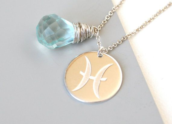 Pisces Aquamarine Birthstone Necklace Silver March by WrennJewelry, $36.00