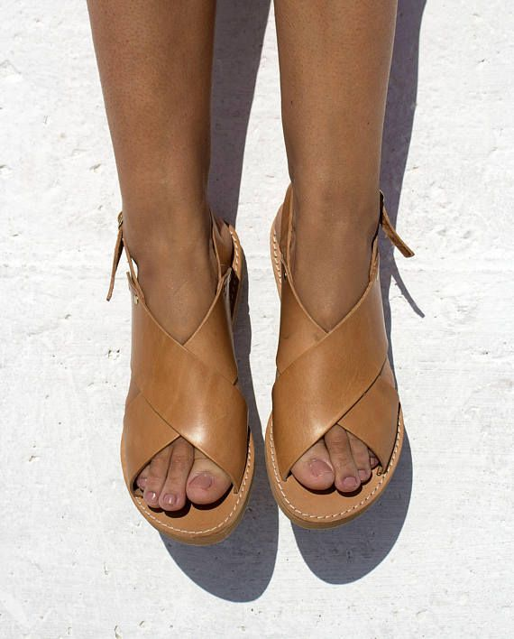 X shape leather Sandals  Natural Leather  Barefoot Greek