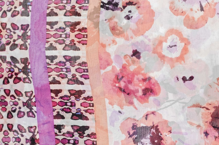 Floral batik print scarves combine some of the hottest fashion trends.