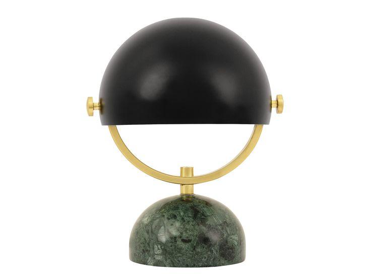 Lowe Table Lamp in Green Marble/Black/Brass