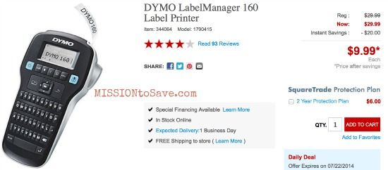 DYMO Label Printer on sale at Staples.  Make labeling those supplies easy easy!  Sale runs thru 7/22!