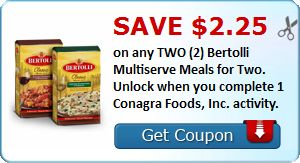 Save $2.25 on any TWO (2) Bertolli Multiserve Meals for Two. Unlock when you complete 1 Conagra Foods, Inc. activity. : #CouponAlert, #Coupons, #Printablecoupons Check it out here!!