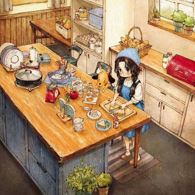 소풍가기 전날, 함께 도시락 준비하기 ( http://grafolio.com/illustration/149093)  #일러스트 #일러스트레이션 #도시락 #요리 #요리시간 #부엌 #소녀 #앞치마 #drawing #paint #illust #illustration #girl #girlish #cooking #cookingtime #kitchen #apron #puppy #squirrel