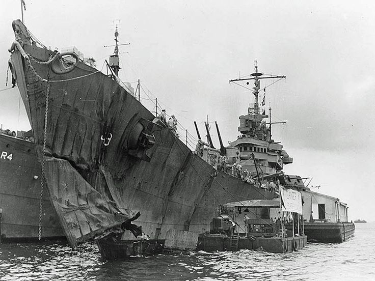 Light cruiser USS St. Louis with torpedo damage to her bow ...