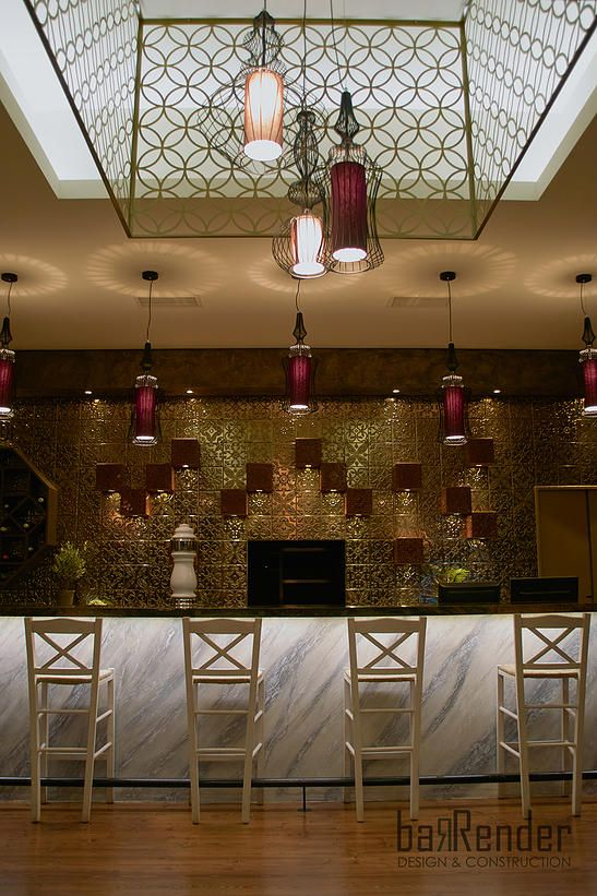 Bar counter front - Custom-made chandelier: laser-cut pattern frame, Pendant luminaires by Forestier - Barbalexis Oriental Restaurant in Athens