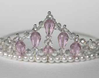 blue crystal beaded princess tiara