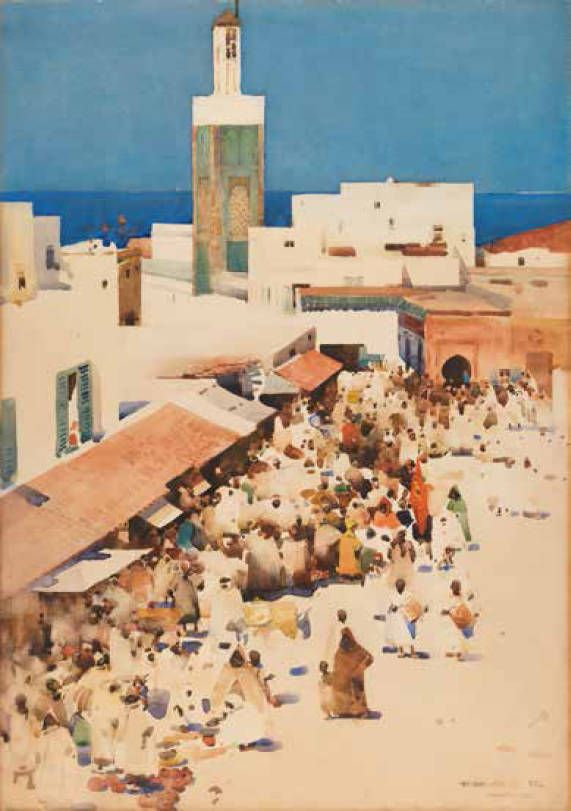 Tangiers by Arthur Melville (Scottish, 1855 - 1904) watercolour, 34 x 24 inches.