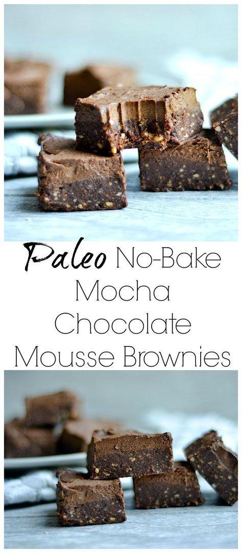 Paleo No Bake Mocha Chocolate Mousse Brownies