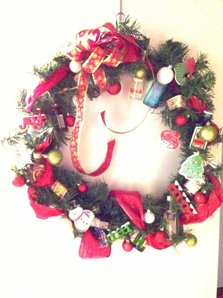 Finally made something I can pin!!! I made this wreath for my company white elephant gift... You have to zoom in the see the 13 mini liquor bottles and hangover medicine :-) it was a hit!!