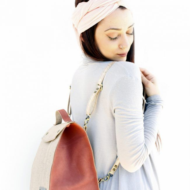 Handmade white pearl cork and orange pink suede minibag. Can be used as backpack, messenger or shoulder bag.