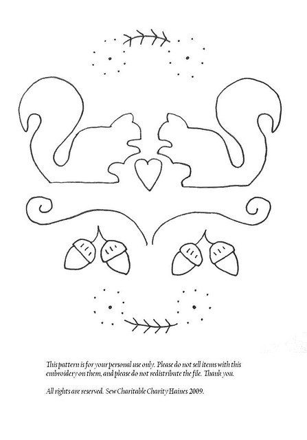 squirrel embroidery pattern