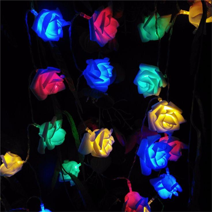 2 M Dekorasi Pernikahan Rose Flower LED Warna Rosa Bouquet String Lampu Baterai Natal Festival Party Taman Kamar Tidur lumiere