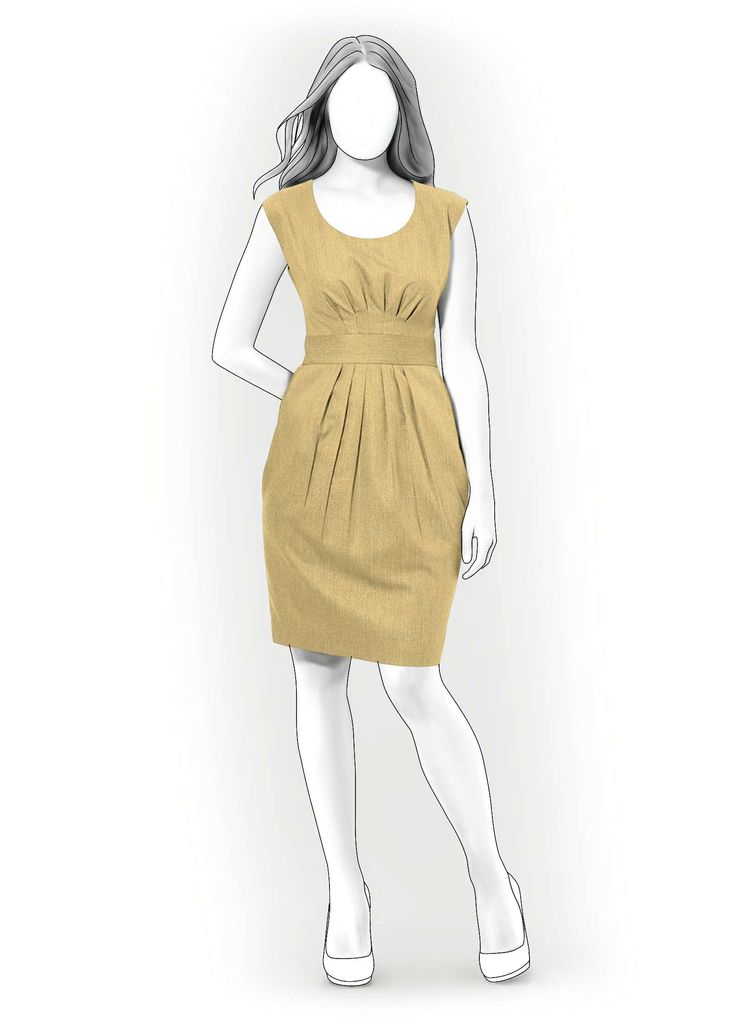 Dress With Pleats  - Sewing Pattern #4067 Made-to-measure sewing pattern from Lekala with free online download.