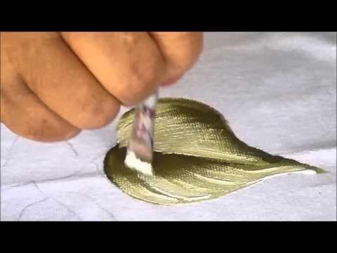 Pintura em tecido tulipa e folha - YouTube