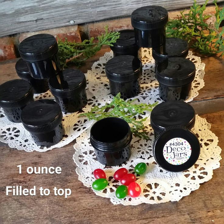 24 Small 1oz Black Jars Black Screw Caps Lids Container #4304 Fast Ship USA #DecoJarsK4304