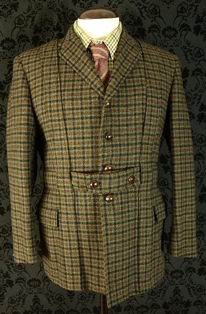 Mens Vtg Norfolk Tweed Shooting Hunting Jacket Coat Huntsman Savile Row 40 42 Savile Row Tweed Hunting Jackets