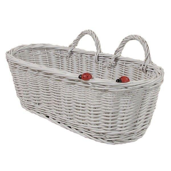 Biały wiklinowy koszyk do zawieszenia z biedronkami