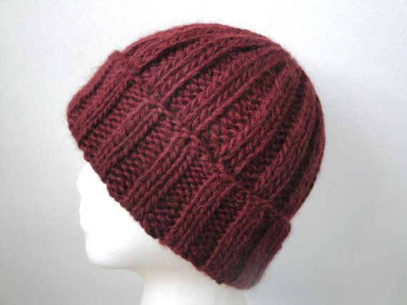 48465a36539 Cordovan Mens Hat Hand Knit Alpaca Wool Watch Cap by Girlpower ...