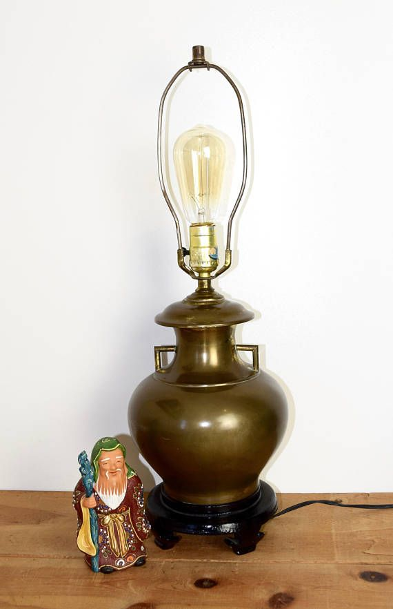 Vintage Brass Lamp Chinese Brass Lamp Brass Urn Lamp Vase Lamp With An Edison Style Bulb Chinese Wood Stand Lamp Brass Lamp Edison Style Bulb