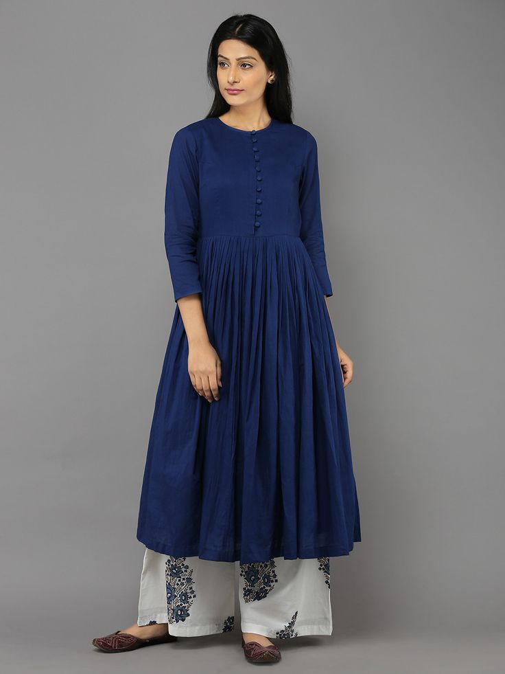 Navy Blue Mulmul Gathered Tunic with White Block Print Palazzos - Set – The Loom