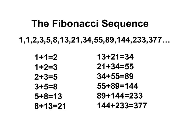 fibonacci sequence golden ratio = 1,618 , 377/233~1,6 144/89~1,6 The Fibonacci numbers grow sections closer to the golden ratio