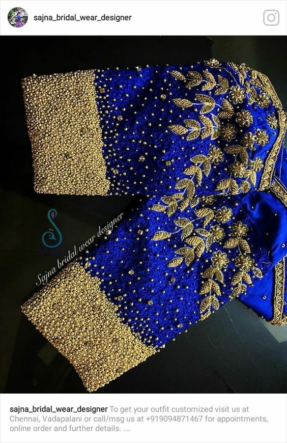 910ef45dba32f2 35.Royal Blue work with flower bridal blouse   40 Heavy Maggam work ...