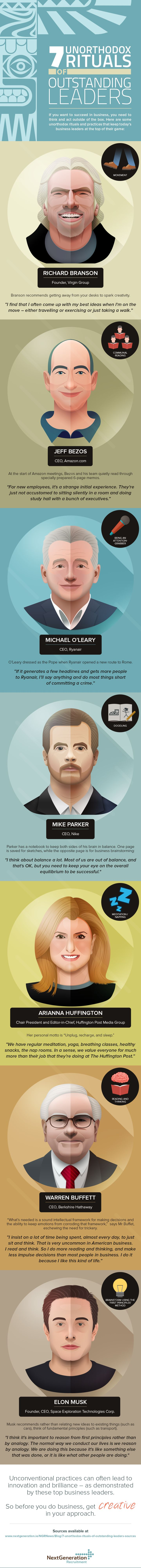 Unique Infographic Design, 7 Unorthodox Rituals Outstanding Leaders via @hazelpugh #Infographic #Design #Entrepreneur