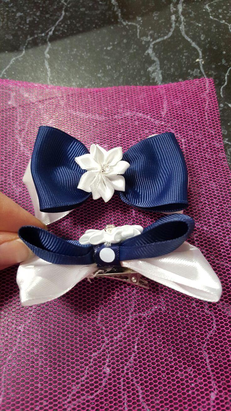 Hair ribbon blue white school.. shaz