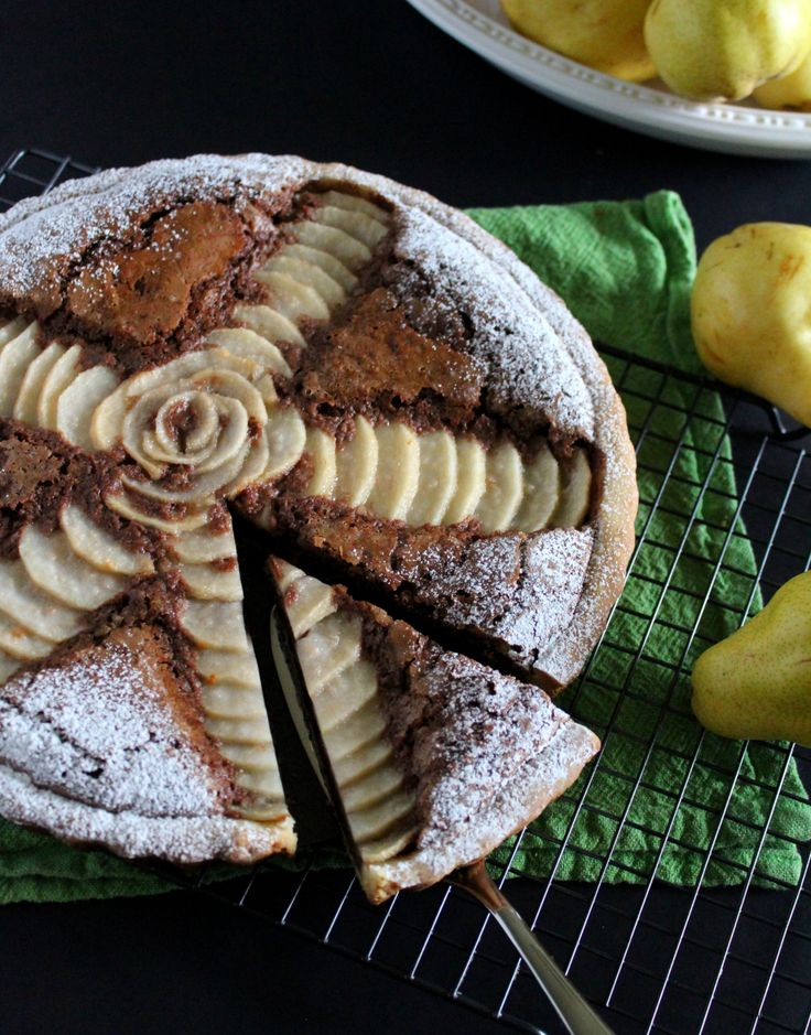 Chocolate Pear Crostata with walnuts, pastry crust and a silky chocolate filling.