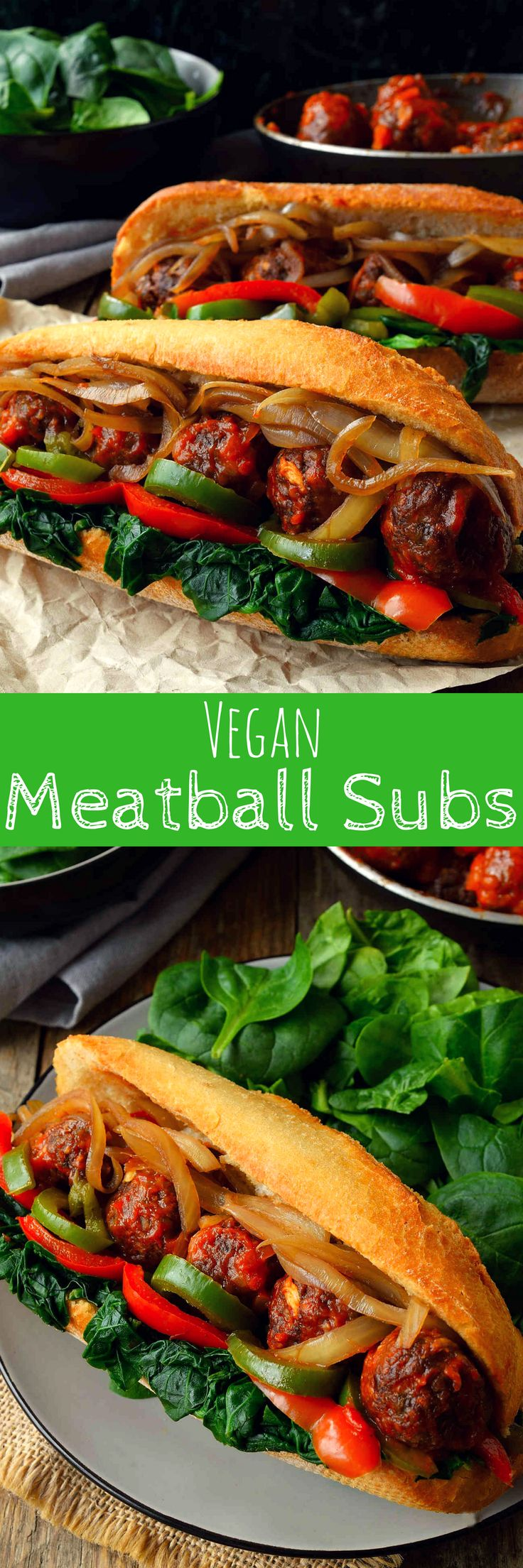 This vegan meatball sub sandwich is super hearty, super flavourful and chock-full of veggies. Baked lentil and mushroom meatballs smothered in marinara sauce and served up in a crusty bun stuffed with spinach, onion and peppers. You might need a knife and fork to get these bad boys in your mouth!