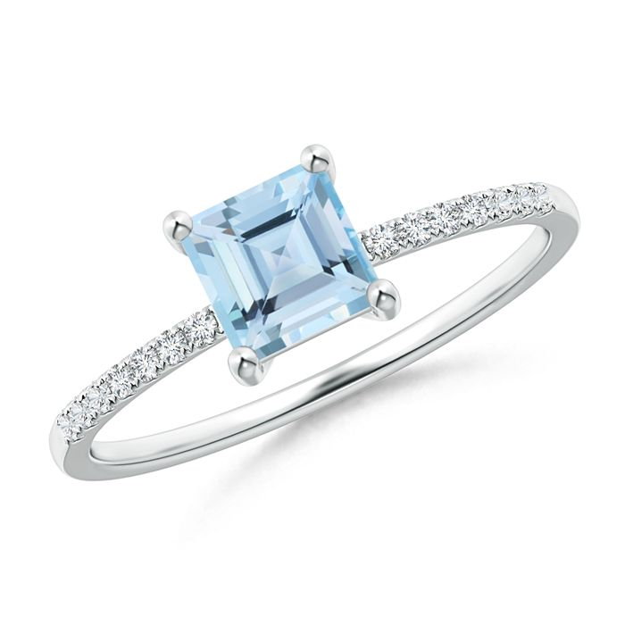 Angara Vintage Diamond Halo Sideways Cushion Aquamarine Claw Ring Rose Gold Rew30YaP