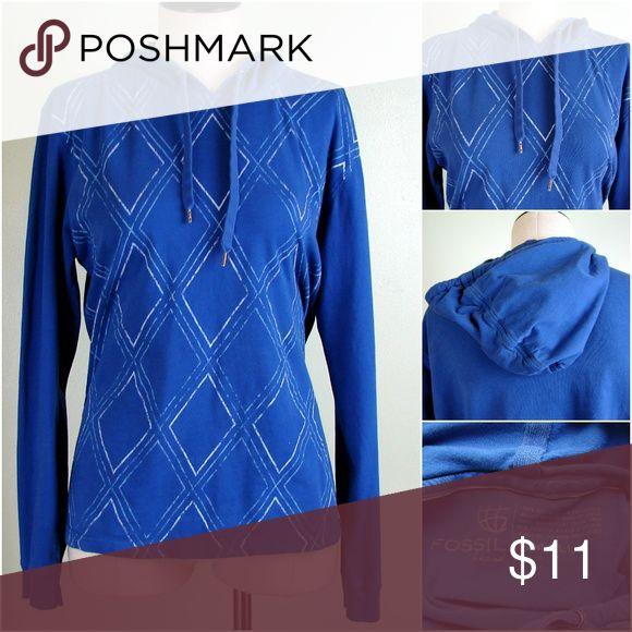 Fossil blue hoodie sweatshirt lightweight S Fossil blue hoodie sweatshirt lightweight S  204 Fossil Tops Sweatshirts & Hoodies