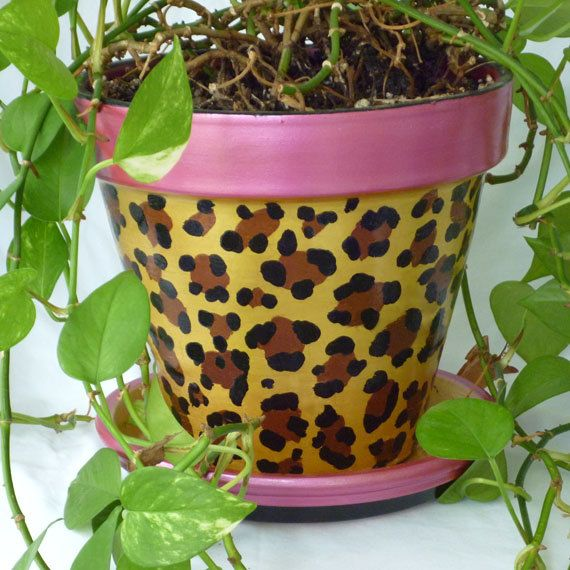 Leopard, Home Decor, Animal Print, Painted Terra Cotta Pots ...