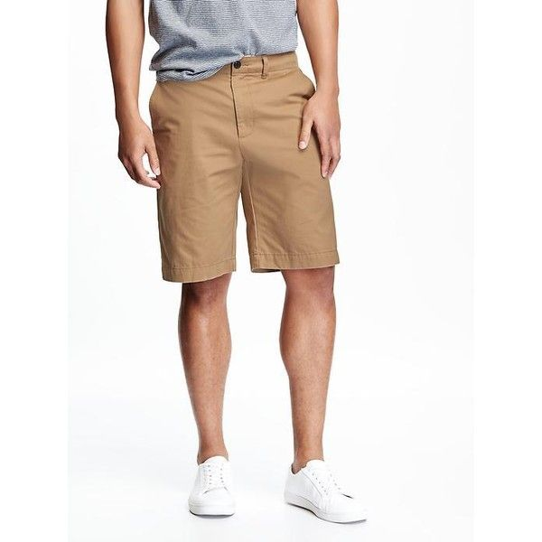 "Old Navy Broken In Khaki Shorts For Men 10 1/2"" ($12) via Polyvore featuring men's fashion, men's clothing, men's shorts, brown, mens khaki shorts, mens twill shorts, old navy mens clothing and old navy mens shorts"