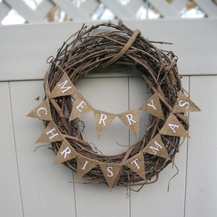 Small Christmas Banner, Natural Burlap, Merry Christmas, L041 rustic Christmas bunting. $15.00, via Etsy.