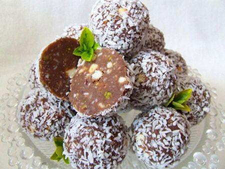 Bilute din ciocolata cu fistic si cocos