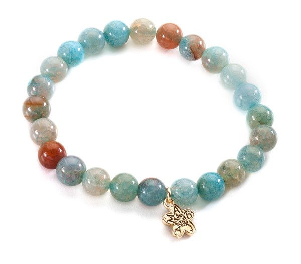 Beautiful turquoise fire agate beads accented with a Missy Briscoe cherry blossom hang tag. Buy one get one Free from 8/12/15 to 9/15/15. Use the code FREE BRACELET