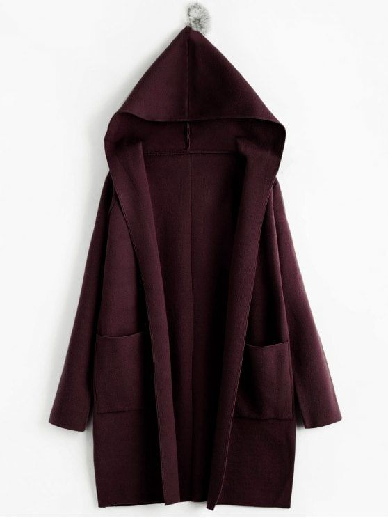 Pompom Hooded Cardigan With Pockets.