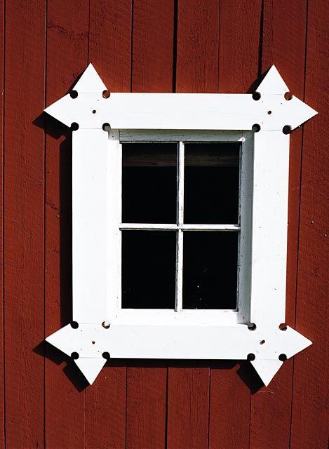 Wooden window detail created by Mårten Johnér in Dalarna, Sweden
