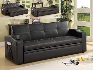 Tamex Corp 80335 Contemporary Pu Leather Futon Sofa Bed Cup Holder