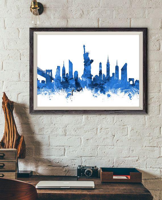 New York Skyline Print blau New York Stadtbild NYC von ArtPagePrint