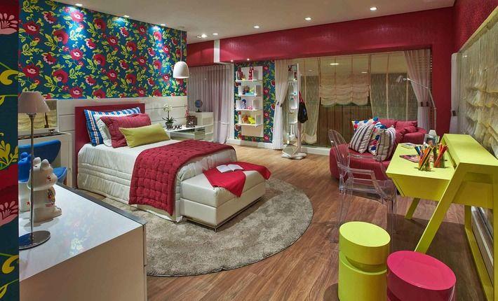 """Quarto da Menina, um espaço moderno que pode """"crescer"""" junto com a criança. Os 22 m² do quarto foram pensados para a típica garota carioca, amante da praia."""