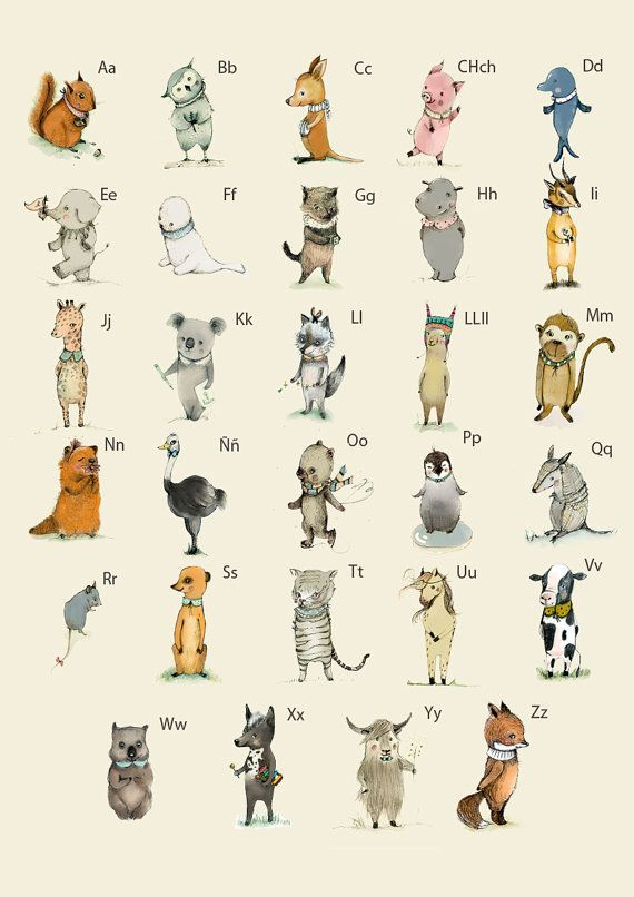 Spanish Abc Animals Alphabet Poster Learning A3 Size Alphabet Poster Animal Alphabet Abc Poster