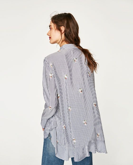 Image 2 of FLOWING EMBROIDERED BLOUSE from Zara