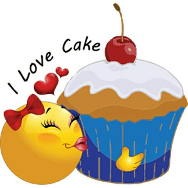 I love cake Smiley - https://www.pinterest.com/mikethemagician/all-about-great-funny-smiley-pics/