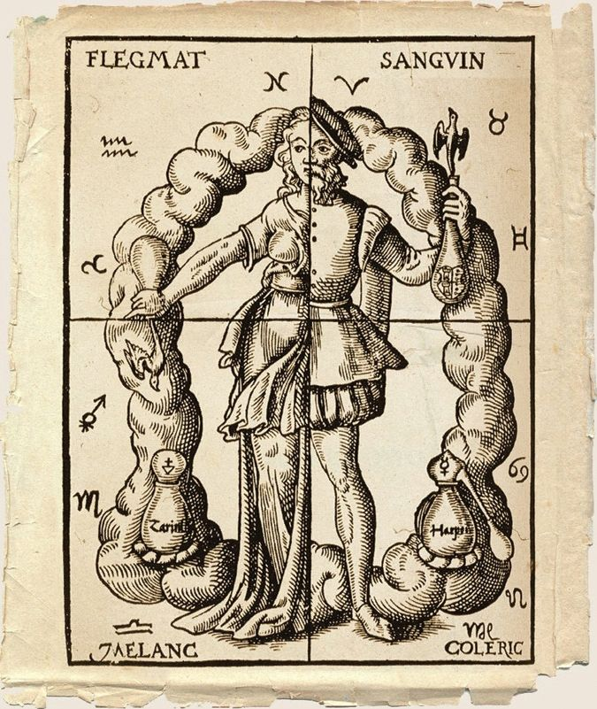 FOUR HUMORS.  An alchemical representation of the four humors in relation to the four elements and their zodiacal signs. Woodcut from Leonhard Thurneysser's 'Quinta Essentia,' Leipzig, 1574.