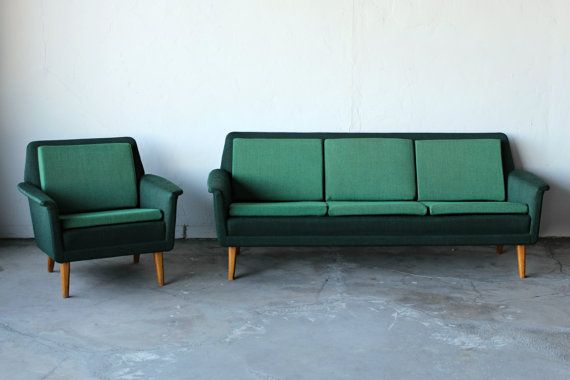 Mid Century Swedish Sofa & Chair. Gorgeous colour.