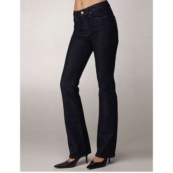 "Paige Jeans If you want to try high-waisted jeans but don't want to look like you travelled in a worm hole from 1976, these area great option for you. A high-waist that's not too exaggerated, a flare that's not too disco. The jeans are the same fit as in the picture but they are different color. Inseam:33"" long rise:8"" inches in the front dark wash with some fade with brown stitching Paige Jeans Jeans Boot Cut"