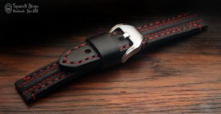 Topouzelli Straps : Leather and canvas watch strap,T 882. Handmade